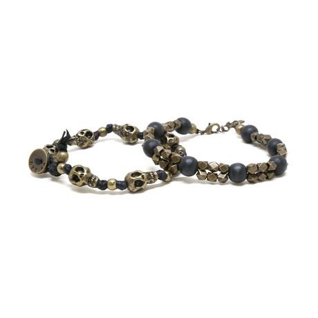 Skull Beaded Bracelet Set // Black Brass