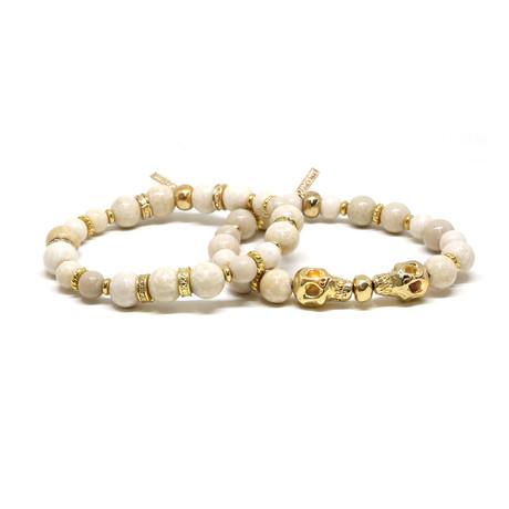 Beaded Skull Bracelet Set // Gold + White