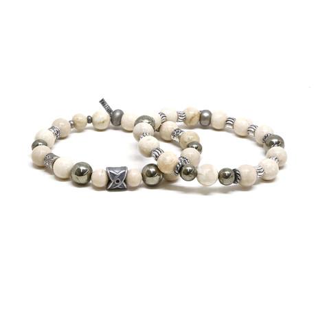 Beaded Elastic Bracelet Set // Silver Ox + White