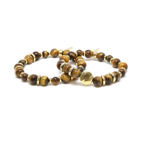 Tiger's Eye Beaded Elastic Bracelet Set // Gold
