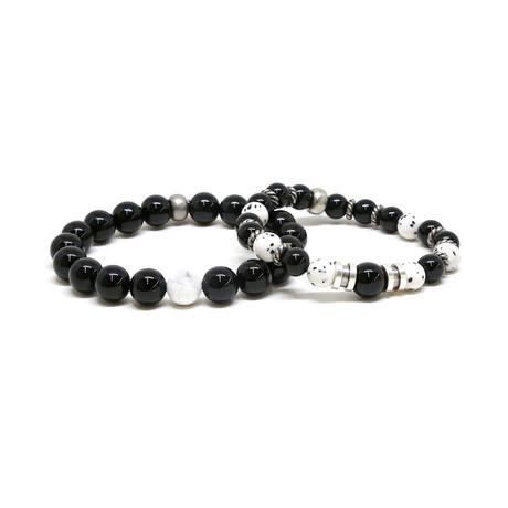 Onyx + Howlite Beaded Elastic Bracelet Set // Silver Ox