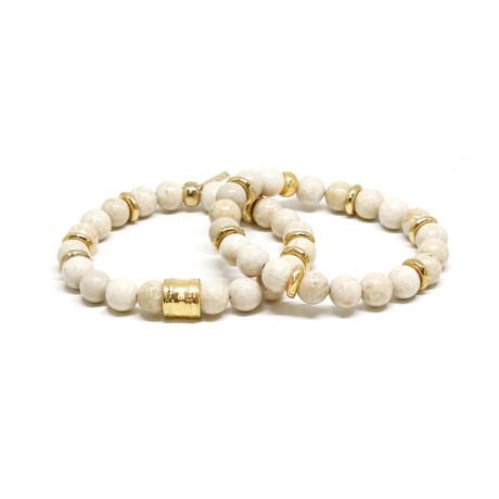 Beaded Elastic Bracelet Set // Gold + White
