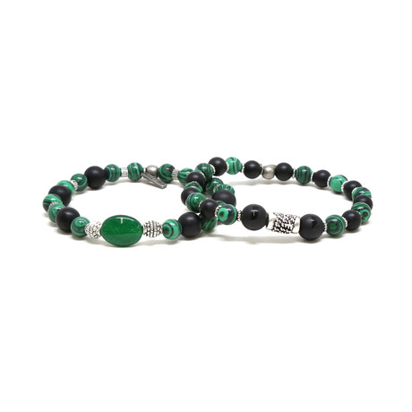 Malachite Beaded Bracelet Set // Silver Ox + Black Agate