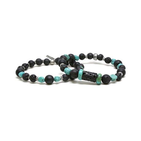 Raw Stone Lava Bead + Elastic Beaded Bracelet Set // Blue + Black