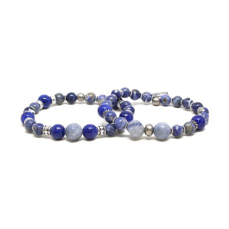 Sodalite + Blue Elastic Bracelet Set // Silver Ox