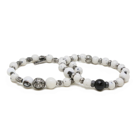 Dalmatian Jade Beaded Bracelet Set // Silver Ox