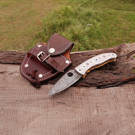 "Damascus Folding Knife ""Custom Handmade"""