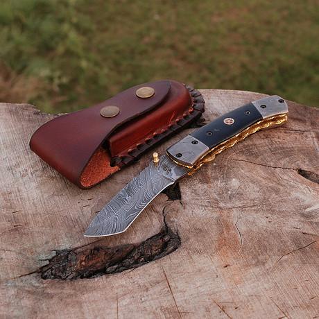 "Damascus Tanto Folding Knife ""Handmade"""