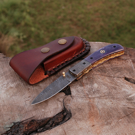 Handmade Damascus Liner Lock Folding Knife // 2681