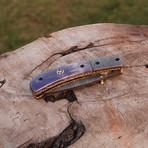 Handmade Damascus Liner Lock Folding Knife // 2681