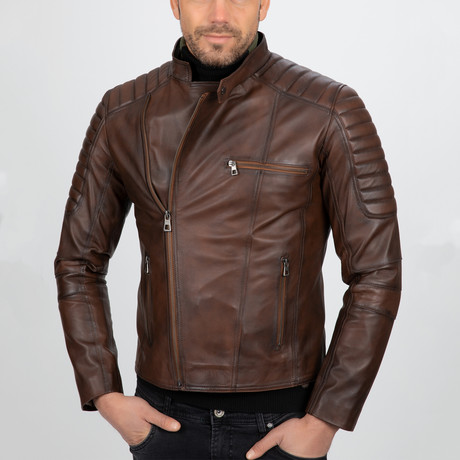 Asymmetrical Zip-Up Leather Jacket // Chestnut (S)