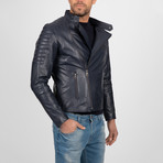 Asymmetrical Zip-Up Leather Jacket // Navy (S)