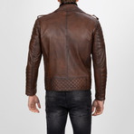 Multi-Detailed Leather Jacket // Chestnut (XL)