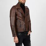 Multi-Detailed Leather Jacket // Chestnut (M)