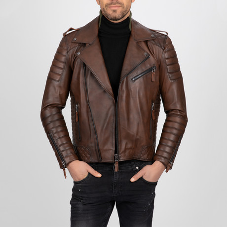 Multi-Detailed Leather Jacket // Chestnut (S)