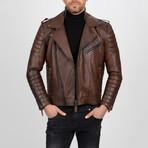 Multi-Detailed Leather Jacket // Chestnut (S)