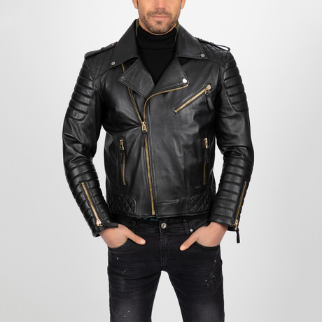 Multi-Detailed Leather Jacket // Black + Gold (S)