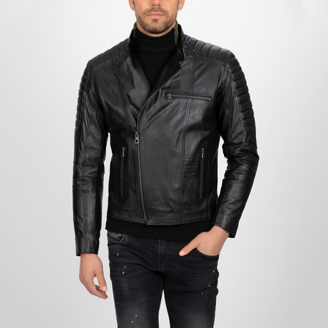 Asymmetrical Zip-Up Leather Jacket // Black (S)
