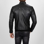 Asymmetrical Zip-Up Leather Jacket // Black (L)