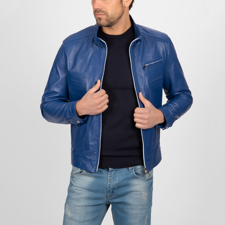 Classic Leather Jacket // Light Blue (S)