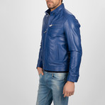 Classic Leather Jacket // Light Blue (L)