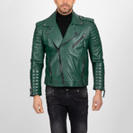 Asymmetrical Zip-Up Leather Jacket // Green (S)