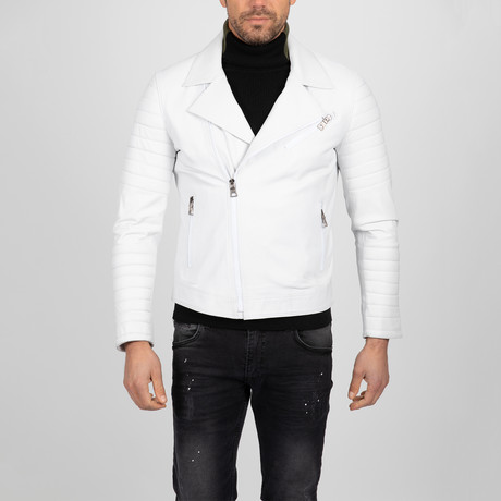 Asymmetrical Zip-Up Leather Jacket // White (S)