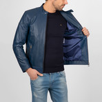 Classic Leather Jacket // Dark Blue (S)