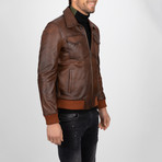 Classic Leather Jacket // Brown (S)