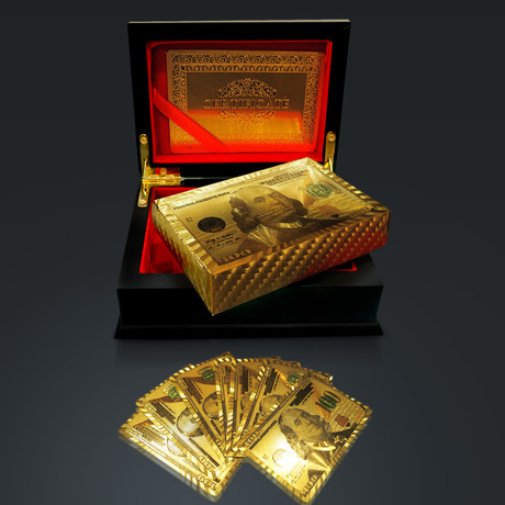 24K Gold Plated Playing Cards// $100 USD (1 Deck + Single Box)