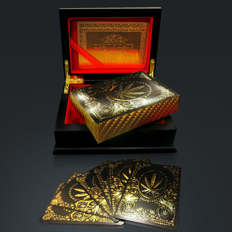 24K Gold Plated Playing Cards // Leaf (1 Deck + Single Box)