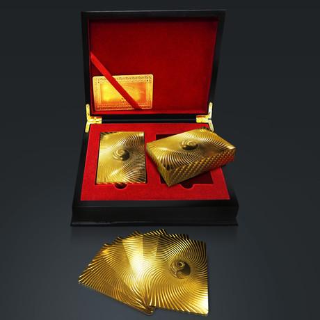 24K Gold Plated Playing Cards // Yin Yang (1 Deck + Single Box)