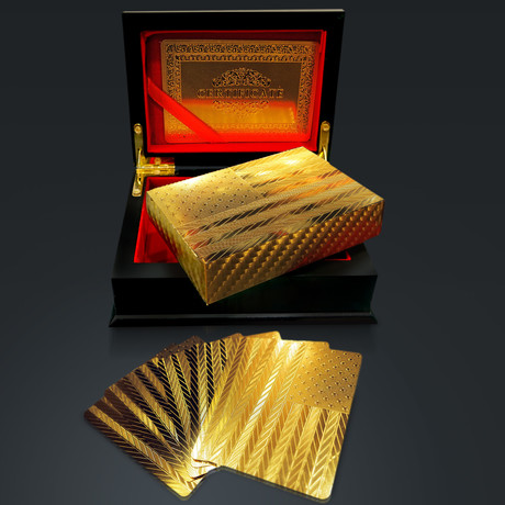 24K Gold Plated Playing Cards // US Flag (1 Deck + Single Box)