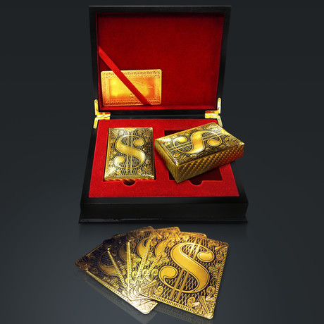 24K Gold Plated Playing Cards // $ Sign (1 Deck + Single Box)