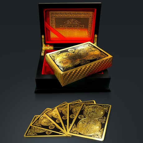 24K Gold Plated Playing Cards // World Antique Map (1 Deck + Single Box)