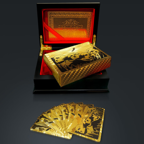 24K Gold Plated Playing Cards // Mount Rushmore (1 Deck + Single Box)