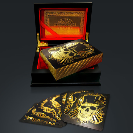 24K Gold Plated Playing Cards // Skull Hat (1 Deck + Single Box)