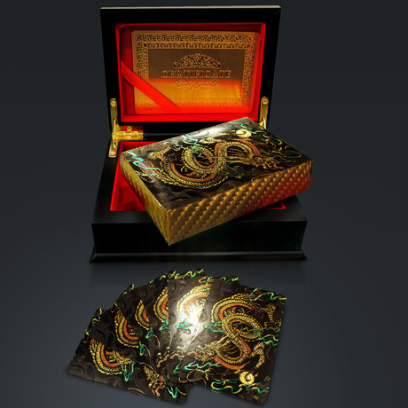 24K Gold Plated Playing Cards // Dragon (1 Deck + Single Box)
