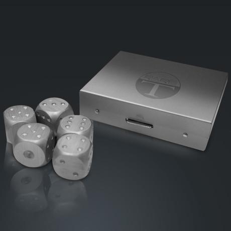 Precision Dice // Aluminum Square // Set Of 5 (Silver)