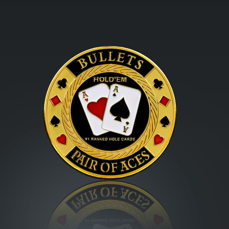 24K Gold Plated Poker Chip Card Guard // Bullets Pair Of Aces