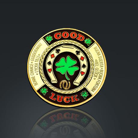 24K Gold Plated Poker Chip Card Guard // Good Luck Clover