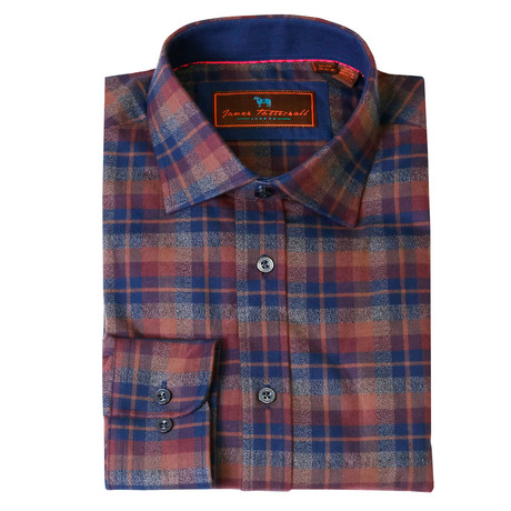 Woven Button Down Shirt // Rust + Navy + Brown (XS)