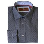 Woven Button Down Shirt // Gray + Black (XS)