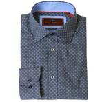 Woven Button Down Shirt // Gray + Blue (XS)