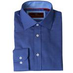 Woven Button Down Shirt // Blue + Navy (XS)