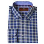 Woven Button Down Shirt // Indigo + Olive (XS)
