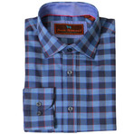 Woven Button Down Shirt // Navy + Blue +Wine (XS)