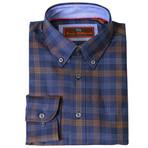 Woven Button Down Shirt // Navy + Gold (XS)