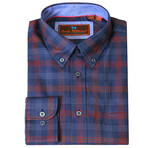 Woven Button Down Shirt // Navy + Red (XS)