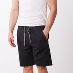 Black Contrast Zipper Sweatshorts // Black (XL)